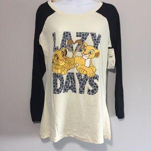 DISNEY LION KING LAZY DAYS BASEBALL TEE size m NWT